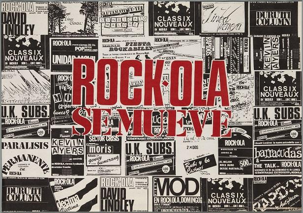 Rock-ola se mueve (1982). Diseño: Pepo Perandones. Archivo Carteles de la Sala Rock-ola / Lorenzo Rodríguez. Centro de Documentación