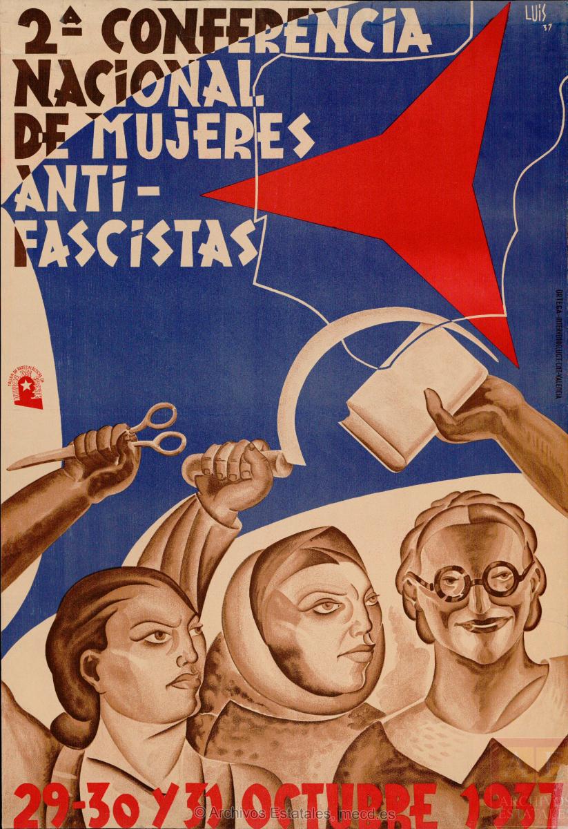 2.ª Conferencia Nacional de Mujeres Antifascistas, 29-30 y 31 octubre 1937. [¿Valencia?]: Altavoz del Frente. Taller de Artes Plásticas, 1937. España. Ministerio de Cultura y Deporte. Centro Documental de la Memoria Histórica
