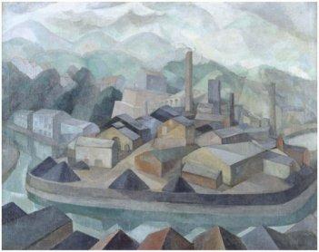 Daniel Vázquez Díaz. La fábrica dormida, 1925. Óleo sobre lienzo, 114 x 145 cm / Con marco: 133 x 165 cm