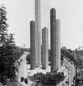Mathias Goeritz, Luis Barragán and Jesús Reyes Ferreira. Torres de Ciudad Satélite (Towers of Satellite City). Architecture, 1957