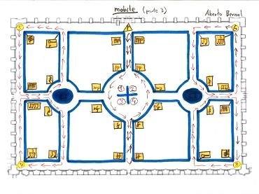 Alberto Bernal. Mobile. Obra para percusión y caminante. Partitura y dibujo, 2014