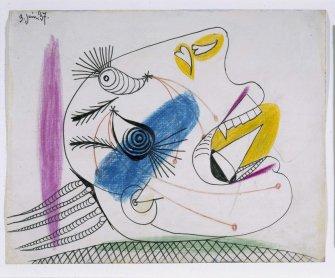 Pablo Picasso. Estudio para una cabeza llorando (I). Dibujo preparatorio para Guernica, 1937. Dibujo. Colección Museo Nacional Centro de Arte Reina Sofía, Madrid