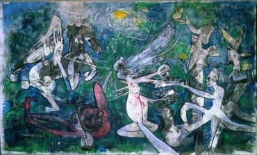 Roberto Matta. Munda y desnuda, la libetad contra la opresión (Worldly and Nude, Freedom Against Oppression), 1986. Painting. Museo Nacional Centro de Arte Reina Sofía Collection, Madrid