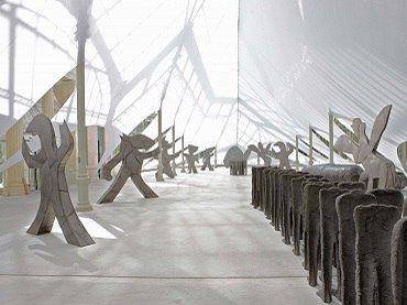 Vista de sala de la exposición. Magdalena Abakanowicz. La corte del Rey Arturo, 2008