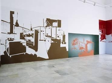 Vista de sala de la exposición. Salvador Cidrás. Proxectos, proyectos, projects 2000-2001, 2001