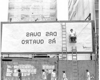 Manga Rosa. Arte ao ar livre. Intervención de Viajou Sem  Passaporte Sao Paulo, 1981-1982. Cortesía Archivo Jorge Bassani
