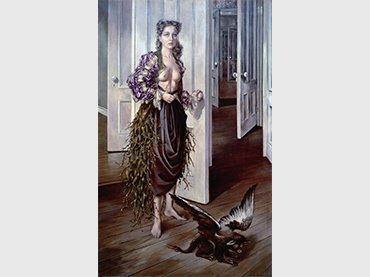 Dotothea Tanning, Birthday [Cumpleaños], 1942, Óleo sobre lienzo, Philadephia Museum of Art © VEGAP, Madrid, 2018