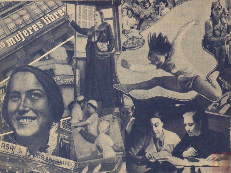 Actividades de la F. N. Mujeres Libres [fotomontaje de Carlos Pérez de Rozas]. Madrid / Barcelona: Mujeres Libres, [1937?]. España. Ministerio de Cultura y Deporte. Centro Documental de la Memoria Histórica. FA-00078