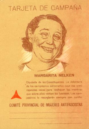 Tarjeta de campaña: Margarita Nelken. Comité Provincial de Mujeres Antifascistas, [1937-1938]. Archivo Ibán Ramón