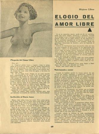 """Amparo Poch y Gascón, """"Elogio del amor libre"""", Mujeres libres, n.º 3, julio de 1936. Madrid / Barcelona: Mujeres Libres, 1936-1938. Imágenes cedidas por la Confederación General del Trabajo – CGT. Con la colaboración de la FAL y la CNT"""