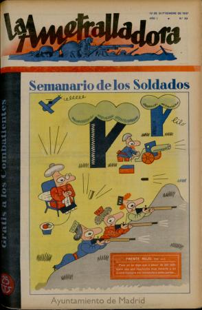 Lilo (Miguel Mihura), La Ametralladora: revista de cultura, arte, ciencia y análisis político, Salamanca, n.º 33, 12 de septiembre de 1937. Salamanca: Imp. La Gaceta Regional, 1937-1939. Biblioteca Digital memoriademadrid