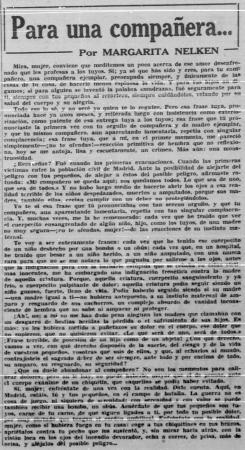 """Margarita Nelken, """"Para una compañera..."""", Mundo Obrero, 13 de enero de 1937. Madrid: Partido Comunista de España, 1931-. Archivo Histórico del PCE"""