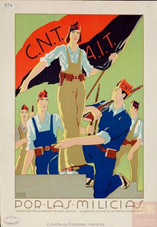 Ricard Obiols, Por las milicias, 1936. España. Ministerio de Cultura y Deporte. Centro Documental de la Memoria Histórica. PS-CARTELES,934