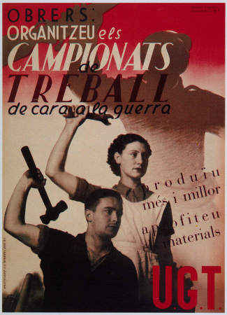 Anónimo, Obrers: Organitzeu els campionats traball de cara a la guerra, 1936. Imagen cedida por Postermil