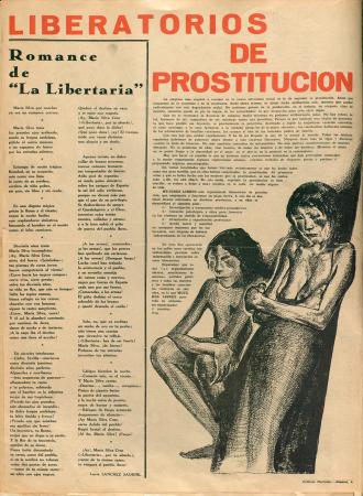"""""""Liberatorios de prostitución"""", Mujeres Libres, n.º 5, septiembre de 1936. Madrid / Barcelona: Mujeres Libres, 1936-1938, (Ilustración de Baltasar Lobo). Imágenes cedidas por la Confederación General del Trabajo – CGT. Con la colaboración de la FAL y la CNT"""