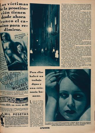 """R.M.G. (Rafael Martínez Gandía), """"Las víctimas de la prostitución tienen desde ahora franco el camino para redimirse"""", Crónica: revista de la semana, n.º 365, 8 de noviembre de 1936. Madrid: Prensa Gráfica, [1929-1939]. Fondos del Centro de Documentación del MNCARS"""