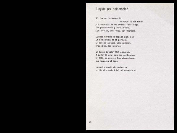 Ángel González, Grado elemental, París: Ruedo Ibérico, 1962, p. 35. Fondos del Centro de Documentación del Museo Nacional Centro de Arte Reina Sofía (RESERVA 4748)