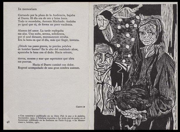 VV. AA., Versos para Antonio Machado, París: Ruedo Ibérico, 1962. Ilustración, Segundo Castro, p. 49. Fondos del Centro de Documentación del Museo Nacional Centro de Arte Reina Sofía (RESERVA 4751)