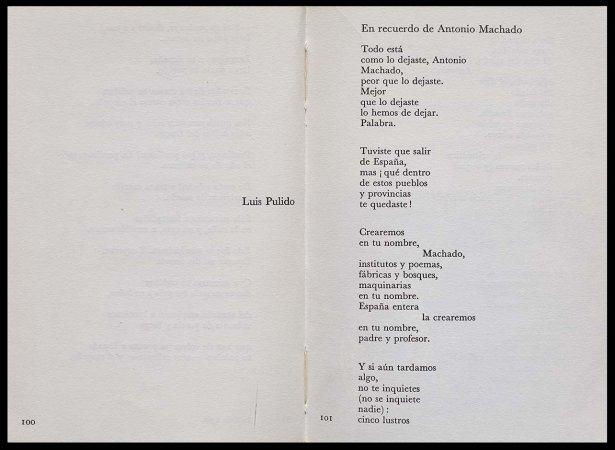 VV. AA., Versos para Antonio Machado, París: Ruedo Ibérico, 1962, p. 101. Fondos del Centro de Documentación del Museo Nacional Centro de Arte Reina Sofía (RESERVA 4751)