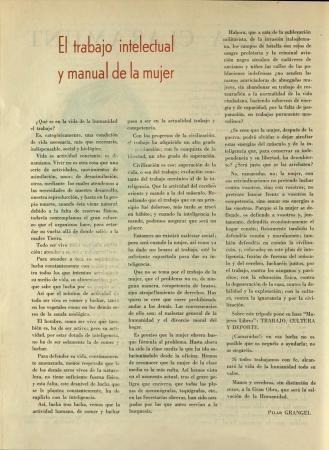 """Pilar Grangel, """"El trabajo intelectual y manual de la mujer"""", Mujeres libres, n.º 12, mayo de 1938. Madrid / Barcelona: Mujeres Libres, 1936-1938. Imágenes cedidas por la Confederación General del Trabajo – CGT. Con la colaboración de la FAL y la CNT"""
