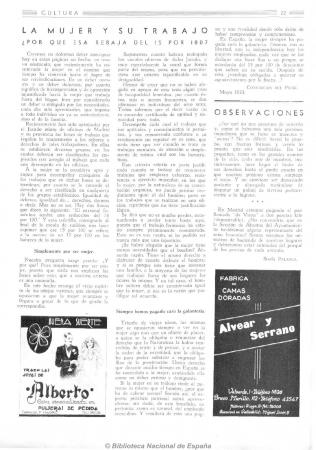 """Concepción del Pilar, """"La mujer y su trabajo"""". Cultura integral y femenina, 15 de junio de 1933. Madrid: Suc. de Rivadeneyra, 1933-1936. Imágenes procedentes de los fondos de la Biblioteca Nacional de España"""
