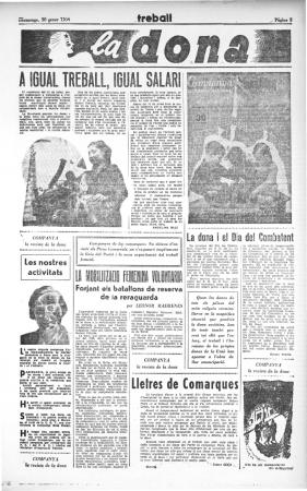 "Angelina Díaz, ""A igual treball, igual salari"", Treball, 30 de enero de 1938. Barcelona: Partit Socialista Unificat de Catalunya (PSUC), [1936-1993]. Imagen cortesía de Arxiu Treball"