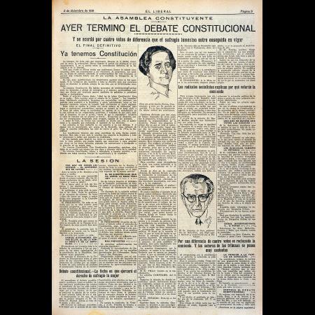 """""""Ayer terminó el debate constitucional"""", El Liberal, 2 de diciembre de 1931. Madrid: 1879-1939. Imágenes procedentes de los fondos de la Biblioteca Nacional de España"""