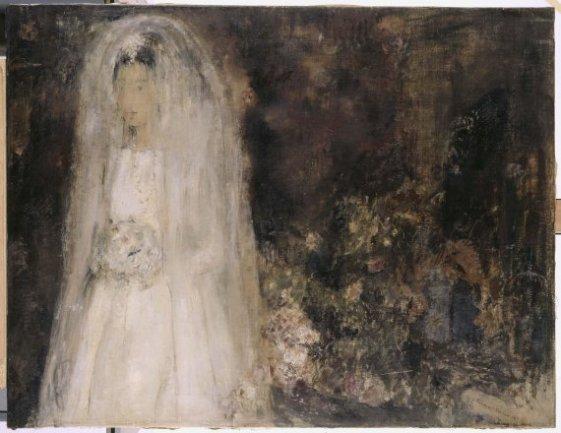 Carmen Laffón. La novia, 1960. Óleo sobre lienzo, 89,5 x 117 cm