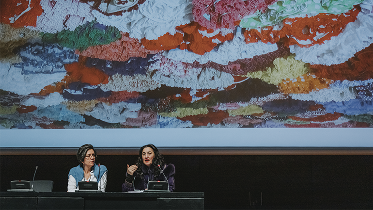 Pilar Albarracín and María Arjonilla at the 22nd Contemporary Art Conservation Conference, 2020