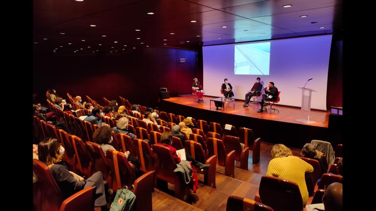 Day of the meeting Among So Many, 2021. In the image (from left to right): Susana Moliner, Safaa Erruas, Younes Rahmoun and Karim Rafi. Photograph: Celia Maldonado