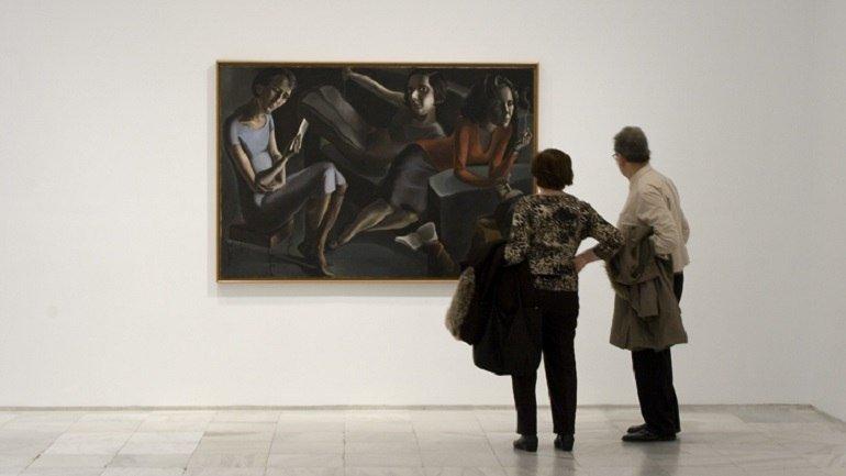 Vista de sala de la exposición con Ángeles Santos. Tertulia, 1929