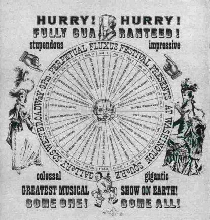 Póster diseñado por George Maciunas para el Perpetual Fluxus Festival. Washington Square Gallery, Nueva York, 1964/65. Cortesía de la George Maciunas Foundation inc y Harry Stendhal