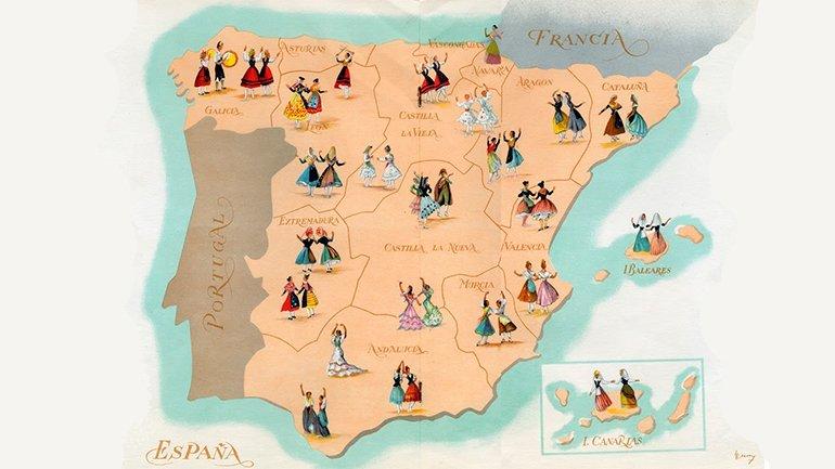 Ricardo Summers Isern. Illustration for the program Canciones y Danzas de España. Sección Femenina de Falange Española Tradicionalista y de las JONS, Madrid, 1953