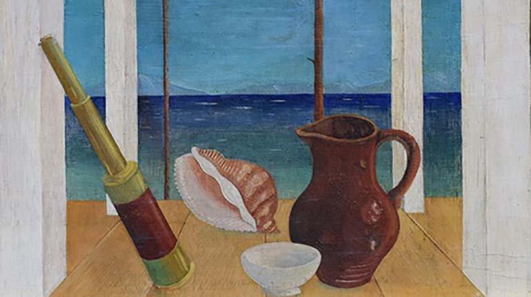 Urbano Lugris, Berbés, 1943 (detalle). Óleo sobre tabla, 28 x 45 cm. Colección Galería Montenegro