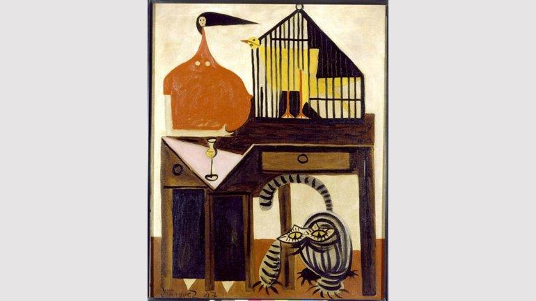 Óscar Domínguez. El gato y el canario (Las damas de Rathbone Place). Pintura, 1947. Colección Museo Nacional Centro de Arte Reina Sofía.