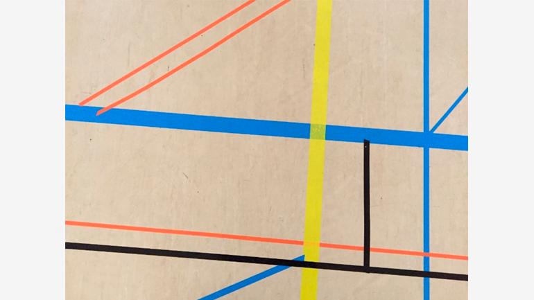 Grupo 5º Educación Primaria, Ejercicio de matemáticas sobre el suelo a propósito de Mondrian, 2021. Obra realizada en pAULA. Fotografía: Cristina Gutiérrez