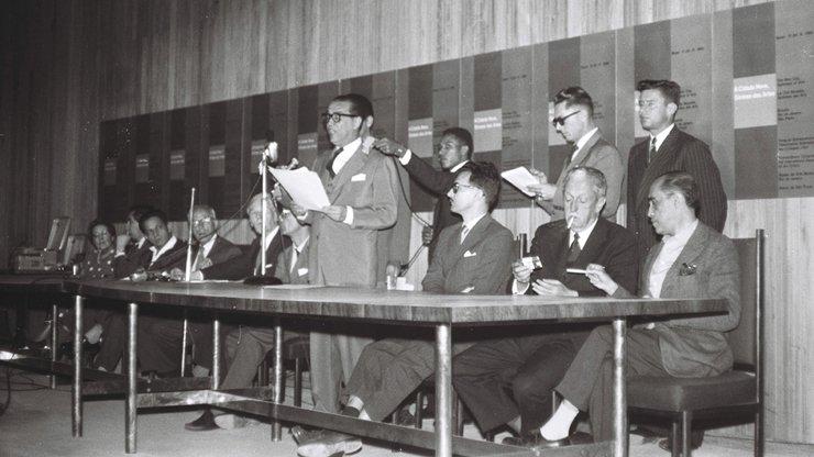 Mario Fontenel. Congresso Internacional de críticos de arte, Brasilia. Opening, 1959