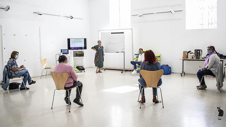 Jornada del taller de Escuela de formación de promotoras de salud comunitaria, Museo Reina Sofía, 2020. Fotografía: Ela Rabasco (Ela R que R)