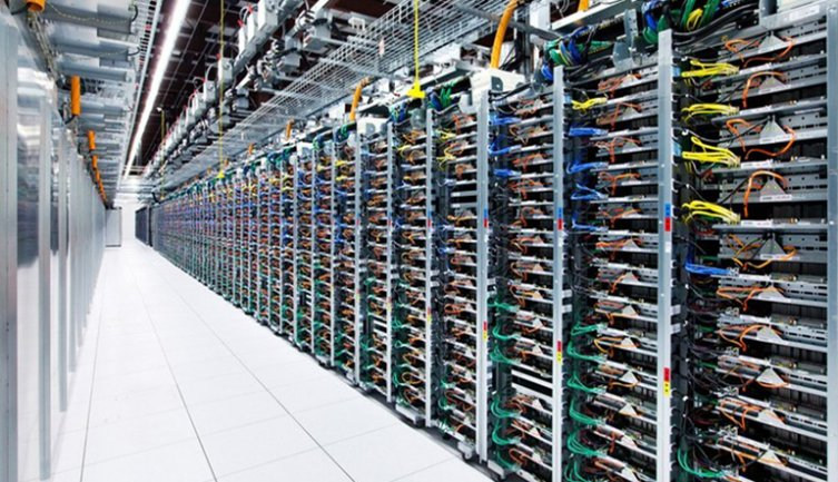 A Google server farm used to store Big Data. Photograph, 2016