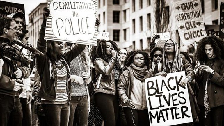 Protest of Black Lives Matter in Washington on November 10, 2015. Photograph: Johnny Silvercloud