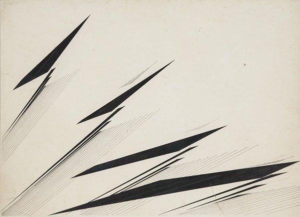 Mohamedi, Nasreen. Sin título (Untitled), Ca. 1975. Tinta y grafito sobre cartulina, 50,8 x 71,1 cm. Colección Sikander y Hydari