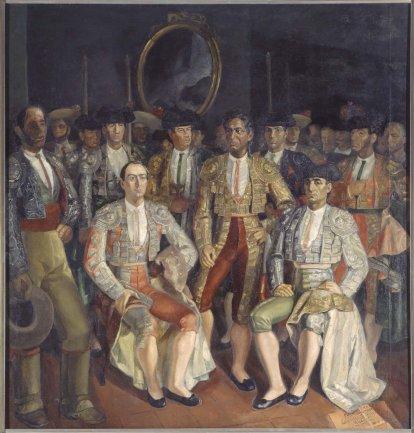 Daniel Vázquez Díaz. Las cuadrillas de Frascuelo, Lagartijo y Mazzantini, 1936-1938. Painting. Museo Nacional Centro de Arte Reina Sofía Collection, Madrid