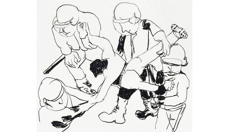 Anne-Marie Schneider. Sin título, 1996-1997. Carboncillo sobre papel. Fonds régional d'Art contemporain Provence-Alpes-Côte d'Azur. Inv: 2005.512