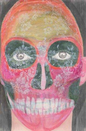 Elly Strik, Beaucoup de fleurs (Muchas flores), 2003. Óleo, laca, grafito y lápiz sobre papel. 240 x 160 cm. Colección FRAC Auvergne
