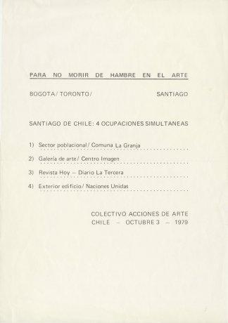 """Afiche """"Para no morir de hambre en el arte"""". Santiago de Chile (1979). CADA // Archivo en uso."""