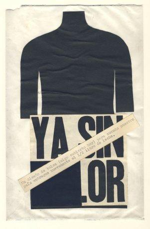 """Bolsa de leche vacía con intervención de Luz Donoso.  Santiago de Chile (1979). Acción """"Para no morir de hambre en el arte"""". CADA // Archivo en uso."""
