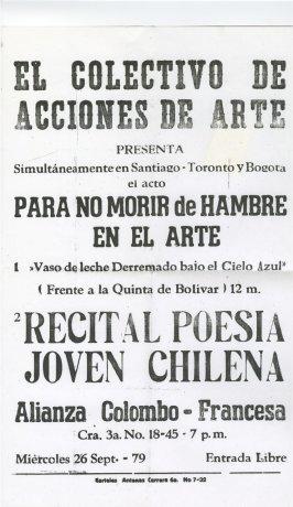 """Afiche de """"Para no morir de hambre en el arte"""".  Bogotá (1979). CADA // Archivo en uso."""