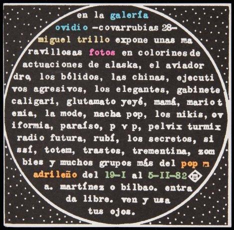 Miguel Trillo. Folleto de la exposición en la Galería Ovidio, Madrid (1982). Archivo Miguel Trillo. Centro de Documentación