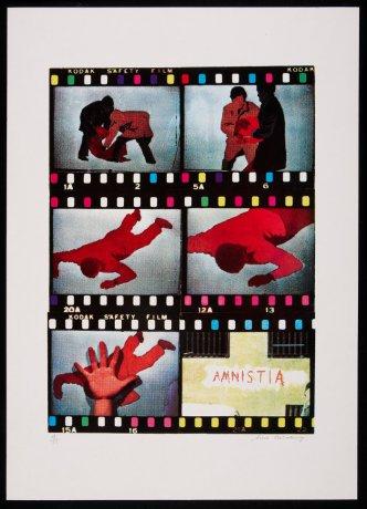 Tino Calabuig. Amnistía (ca. 1970). Serigrafía del Taller Redor. Archivo Redor-Calabuig. Centro de Documentación