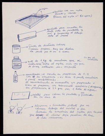 Instrucciones para la elaboración de serigrafías (fragmento) (1972). Archivo Redor-Calabuig. Centro de Documentación